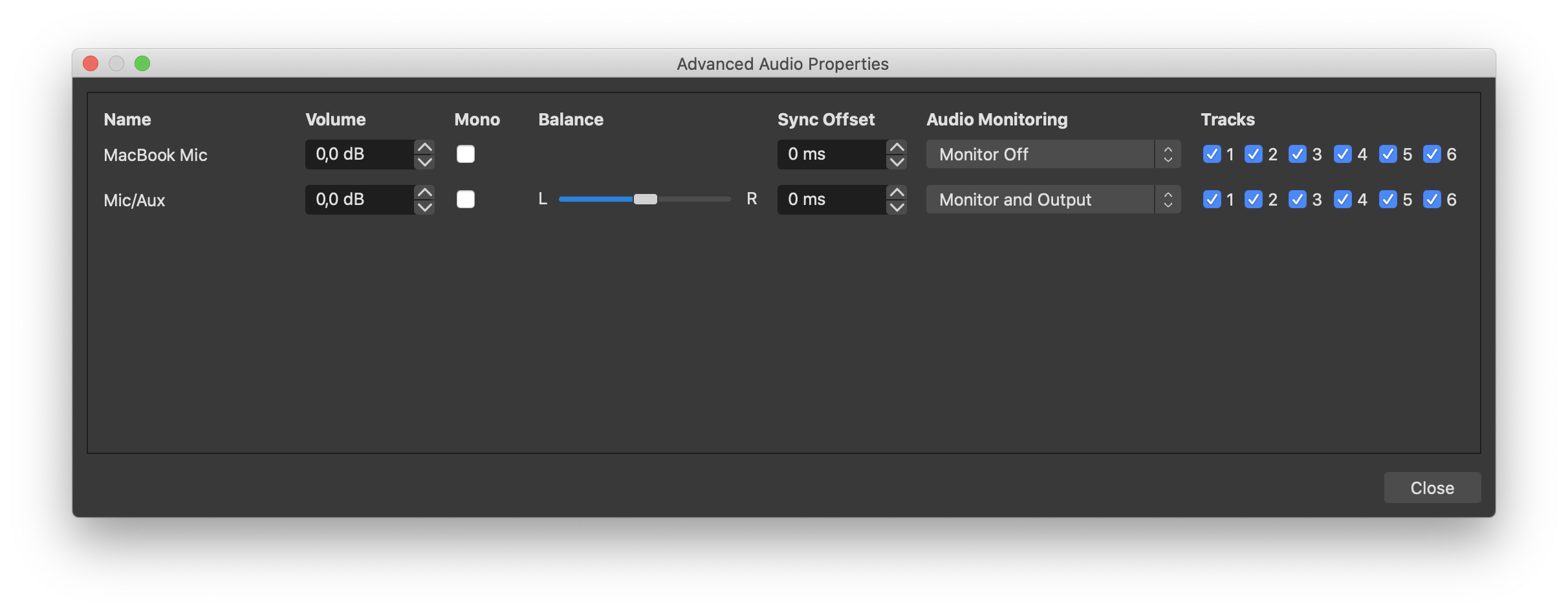 OBS Advanced Audio Properties with enabled Monitoring on the Audio from Max (Mic / Aux - BlackHole)