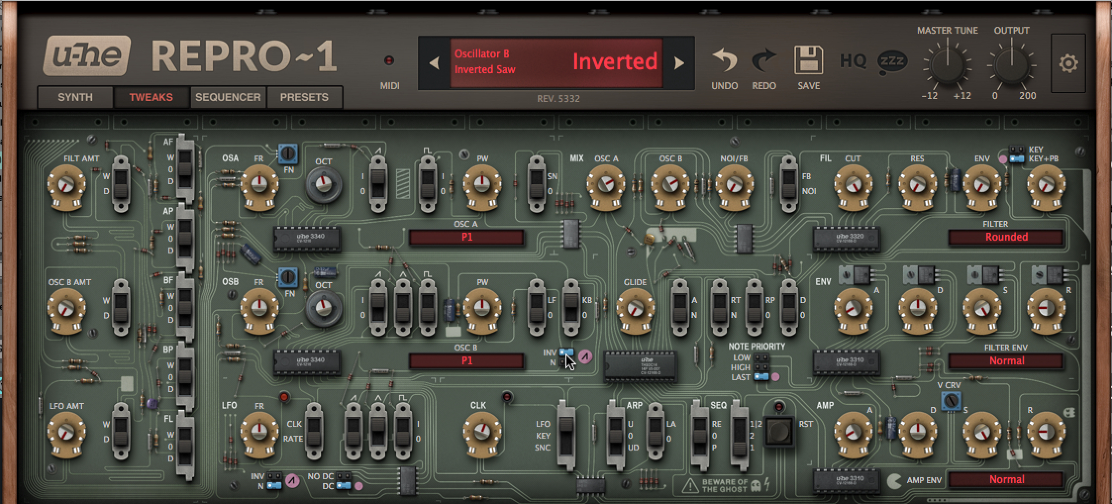 The TWEAKS mode lets you spend some time under the hood to evolve/mutate the original sound