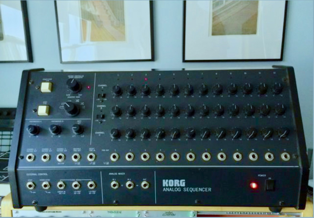 "A photograph of the actual $20 sequencer (and yes, those are Peter Schmidt watercolors from ""Before and After Science)...."