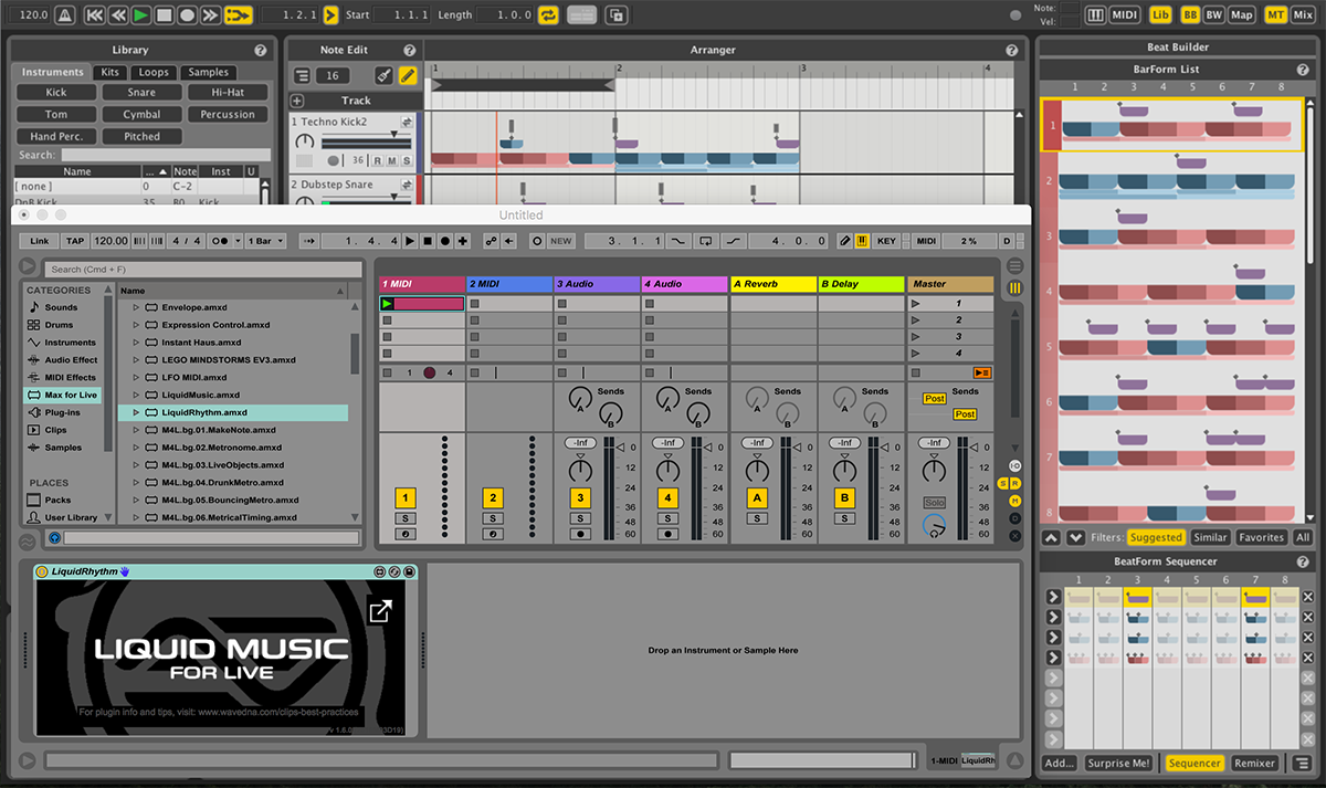Liquid Rhythm provides a unique view for creating drum tracks.