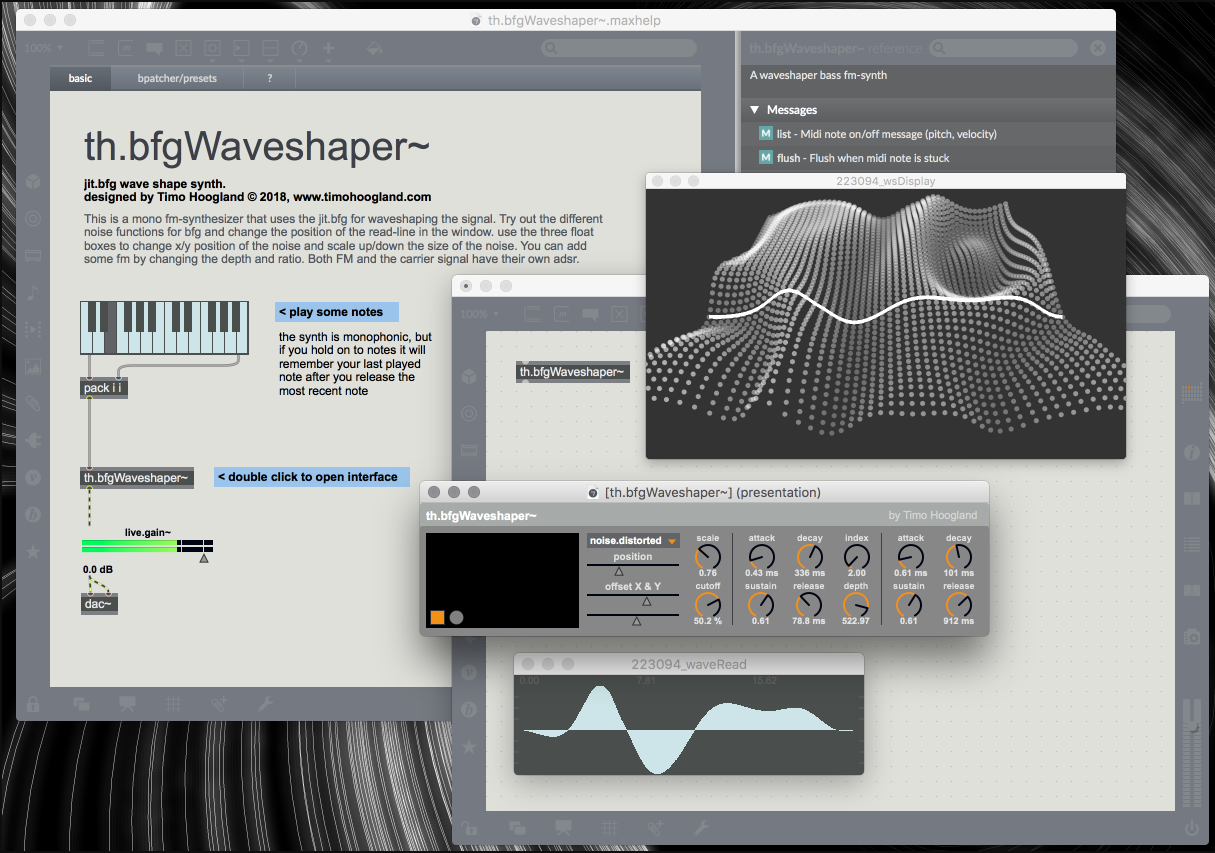 The interface of the waveshaper and the helpfile.