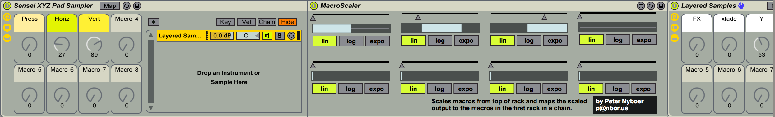 MacroScaler in action, remapping macros at the top down the chain in the rack.