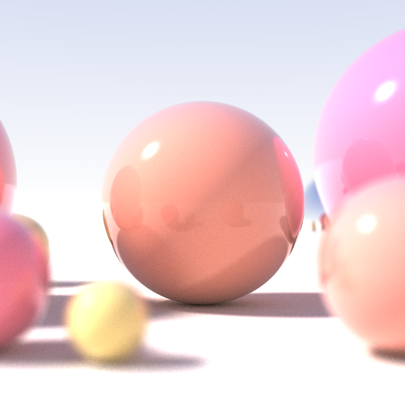 Picture taken from wikipedia page about ray tracing. Shallow depth of field, area light sources and diffuse interreflection.
