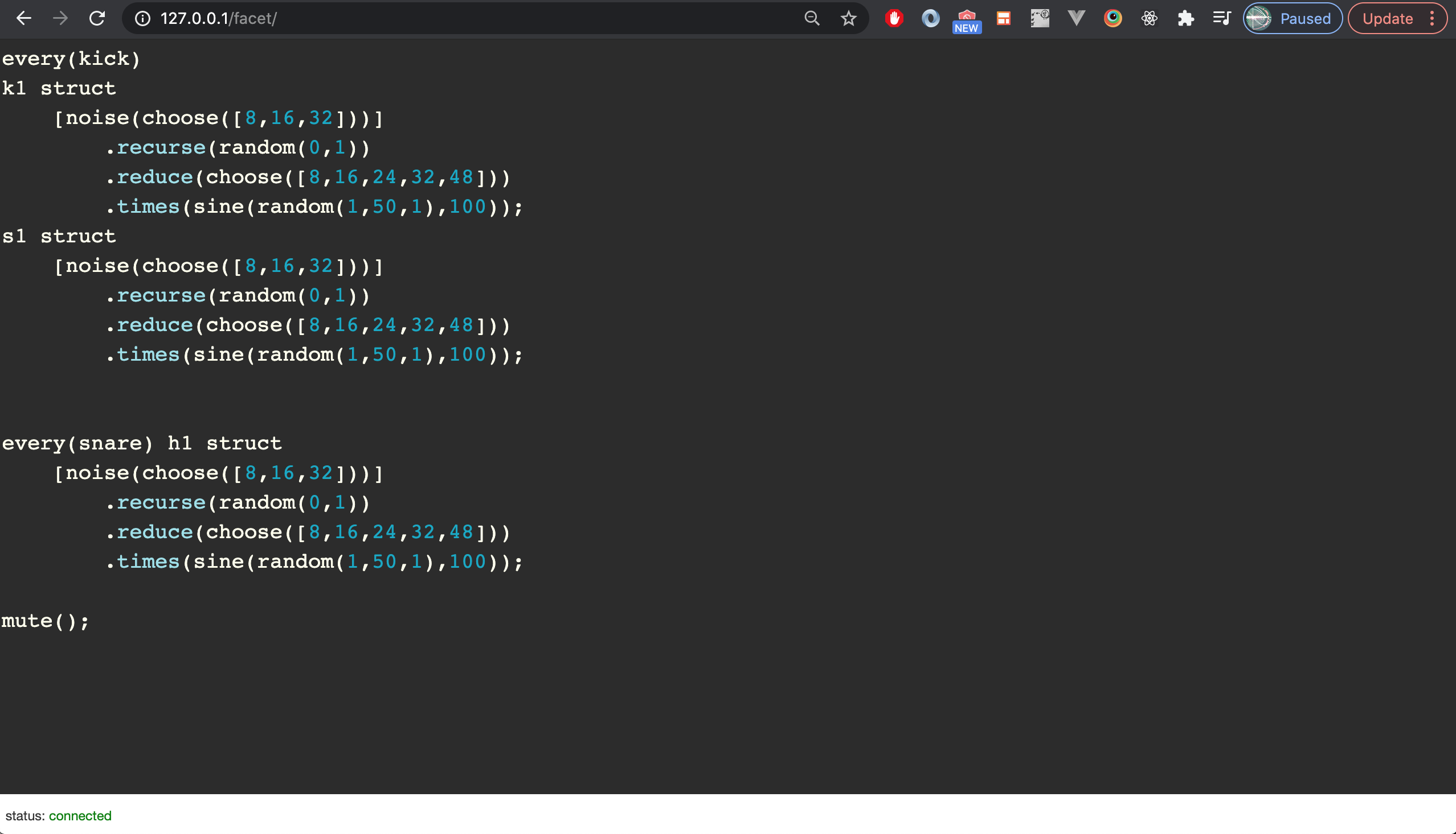 Facet code in the browser.