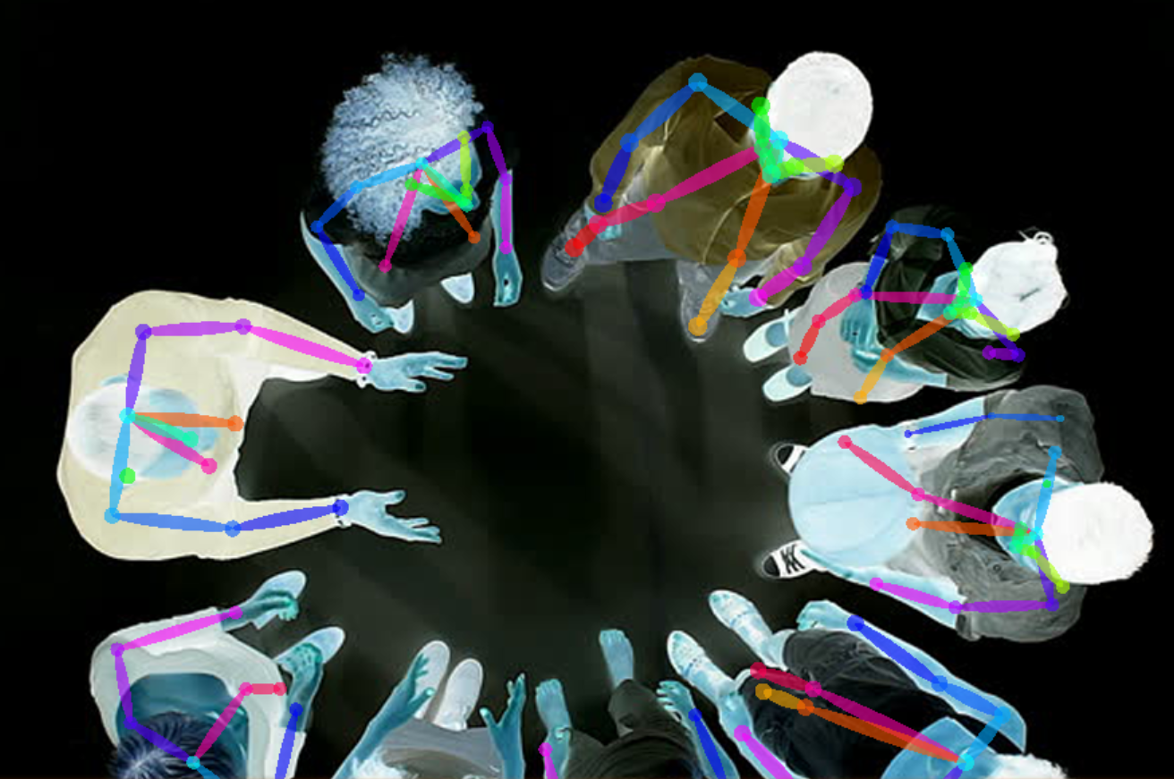 Detecting people on a space and using their silhouettes as masks for