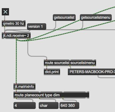 Jit.matrixinfo, 640x360 video received.