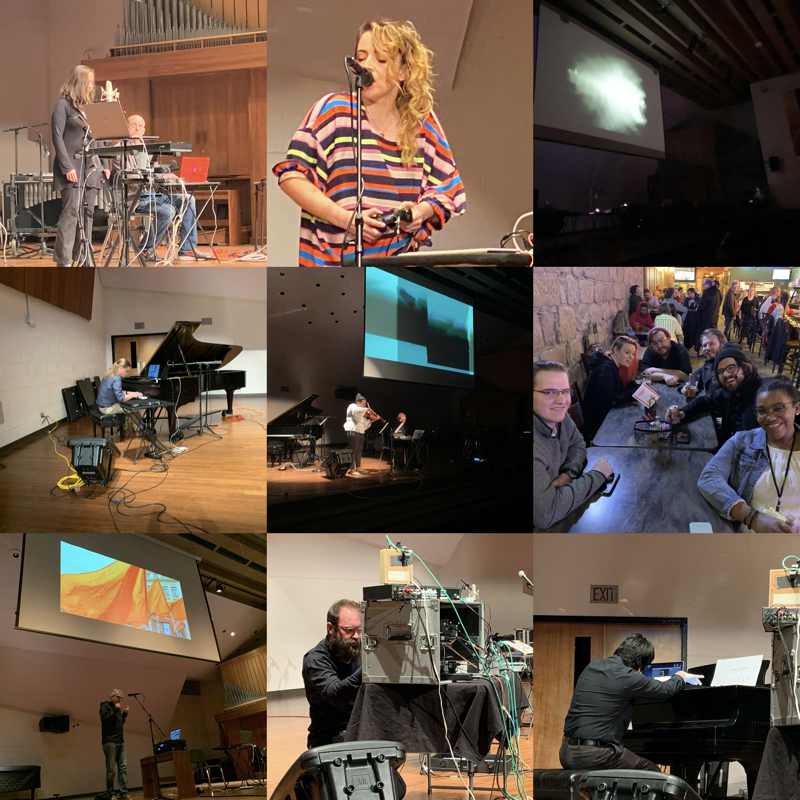 Scenes from a festival: Kristian Twombly, Lauren Sarah Hayes, Eric Sheffield, Travis Garrsison, Kennedy Dixon, @Old Barney's, Paul Botelho,  Sean Hamilton, Jeff Kaiser/Albert Kim  (Photographs courtesy of MOXsonic.org)