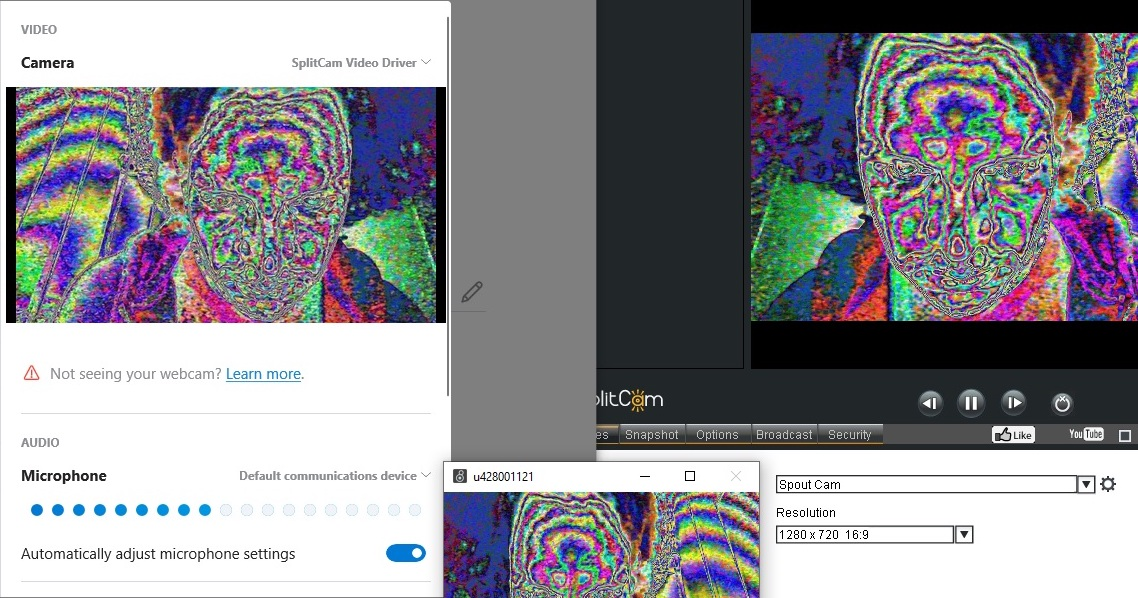 Sending Jitter to Skype via SplitCam and Spout Cam
