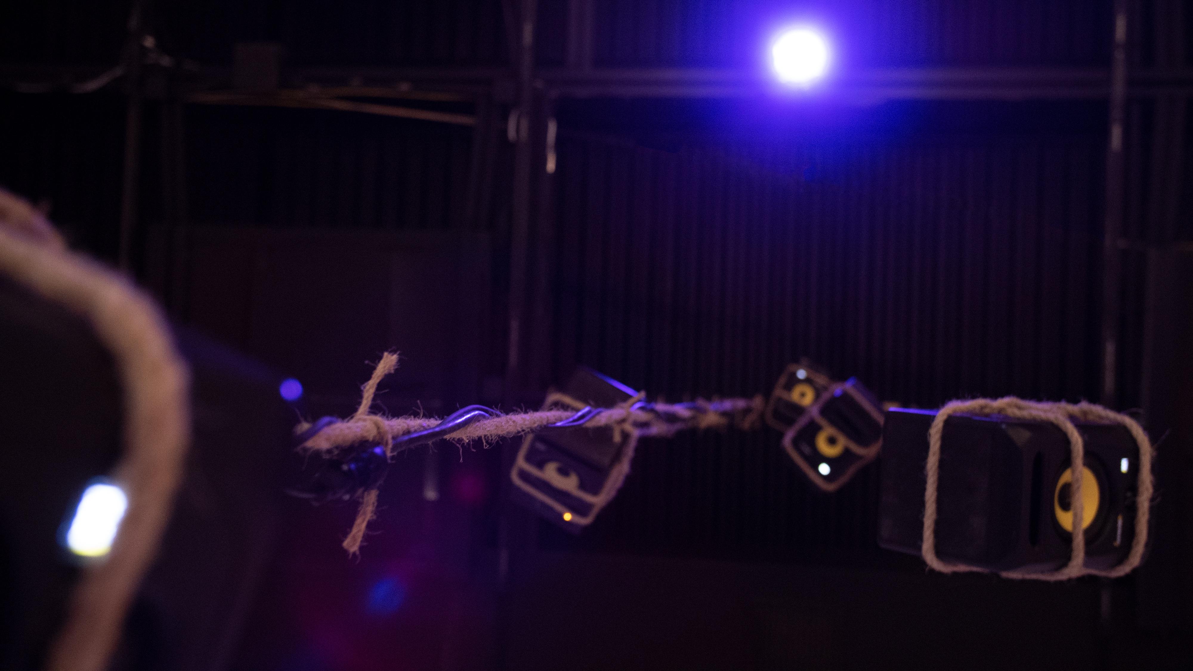 detail image of suspended speakers