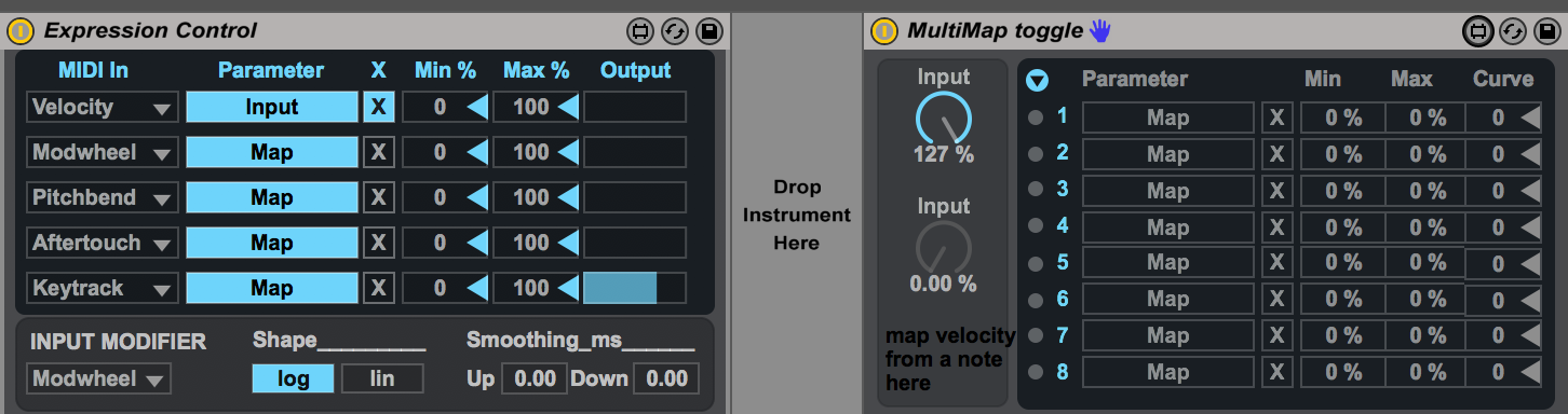 the velocity is mapped to the bottom input nob. that nob shows the current value input, and the top nob toggles between 1 and 127