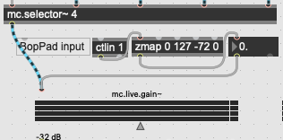 I have adapted the patch for my BopPad - the four sections control the four mc.livegain. sliders